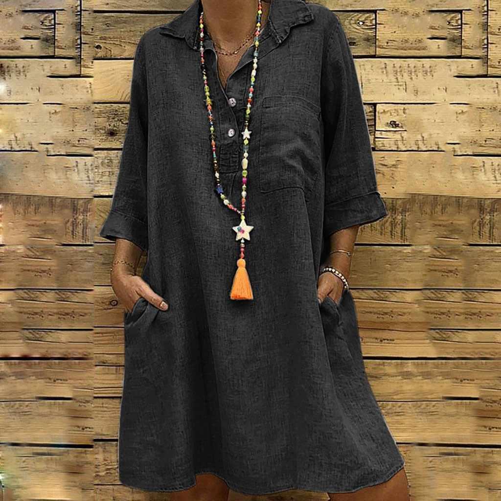 fca0b825e7 Plus Size L5 Women's Fashion Women dress Solid Vestidos De Fiesta Turn down  Collar Dress 3/4 Sleeve Casual Pocket Button Dress
