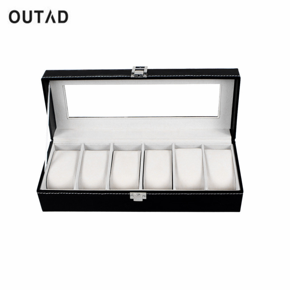 Display Case Watch-Box Storage-Holder Jewelry Wrist Black 6-Grids Refinement-Slots