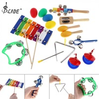 17Pcs / Lot Musical Instruments 8 Tone Xylophone Set 9 Kinds Kids Percussion Toys for Children / Baby / Early Education