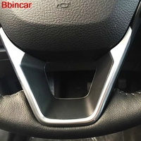 Bbincar ABS Chrome Matte Auto Interior Steering Wheel Cover Steering Wheels Bezel Sticker 3PCS For Ford