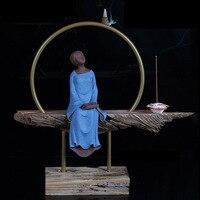 Kreatywny Ceramiczne Kij Stożek Kadzidła Palnika Poezji i Malarstwa Pani z Drewnianą Podstawą Zestaw Wystrój Domu Sztuki Dekoracji Prezenty Ślubne