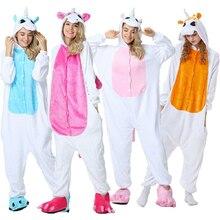 Adult  Unicorn Pajamas for Winter Women Jumpsuit Men Coulple Pijama Flannel Animal Onesies Sleepwear Cosplay