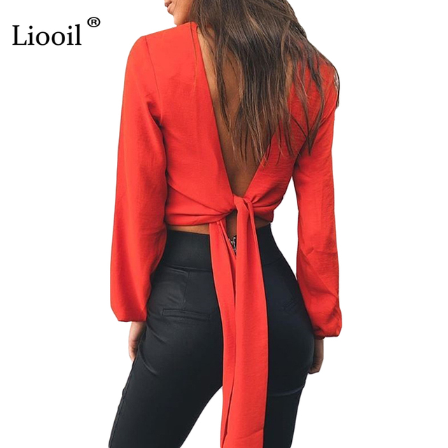 152d6489e2ae4 Liooil Chiffon Sexy Low Cut Tops Long Sleeve Deep V Neck Crop Top Backless  Bow Slim Autumn T Shirt Women Red Black White Tshirt