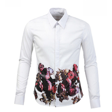 Fashion Print Rose Floral Tuxedo Shirt Men Fitness White Black Dress Shirts Man S-XXL Amazing Quality Long Sleeve Homme Camisa