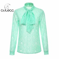 OL Style Elegant Lace Floral Women Blouses High Neck Sweet Long Sleeve Bow Officewear Chemise Femme
