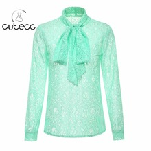 OL style elegant lace floral women blouses high neck sweet long sleeve bow officewear chemise femme sexy see-through shirt tops