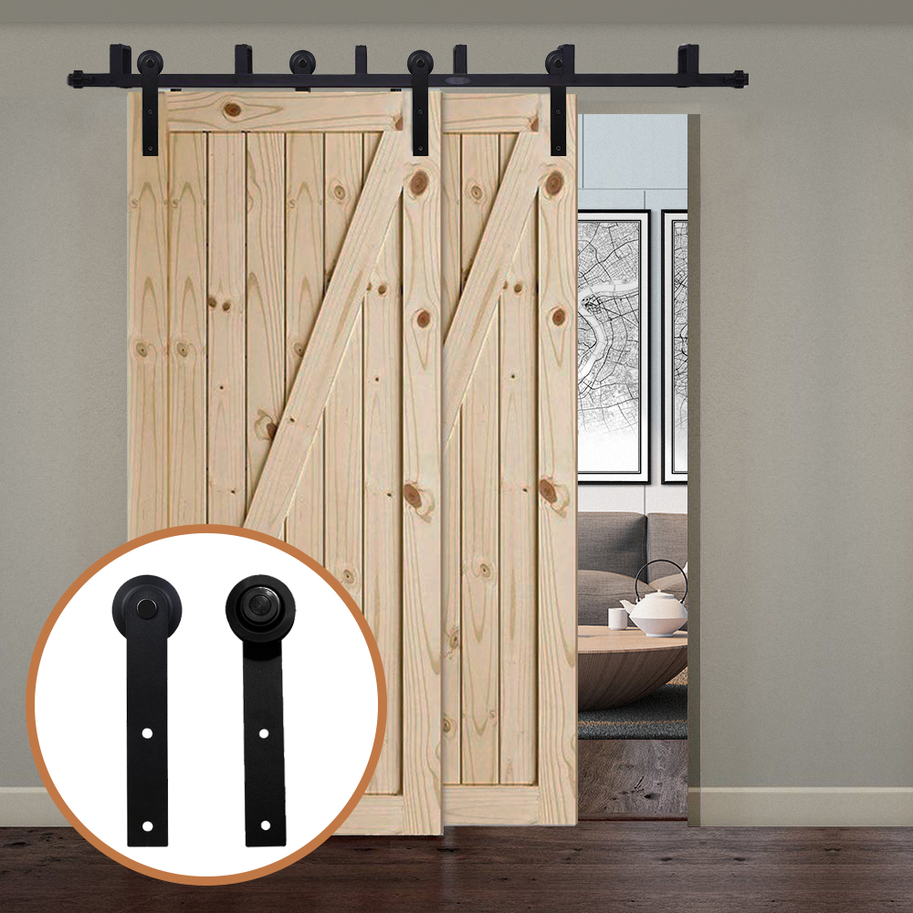 LWZH America Style Black Steel I- Shaped Rollers Track Rail Bypass Sliding Barn Door Hardware Kit for Bypass Barn Double Door