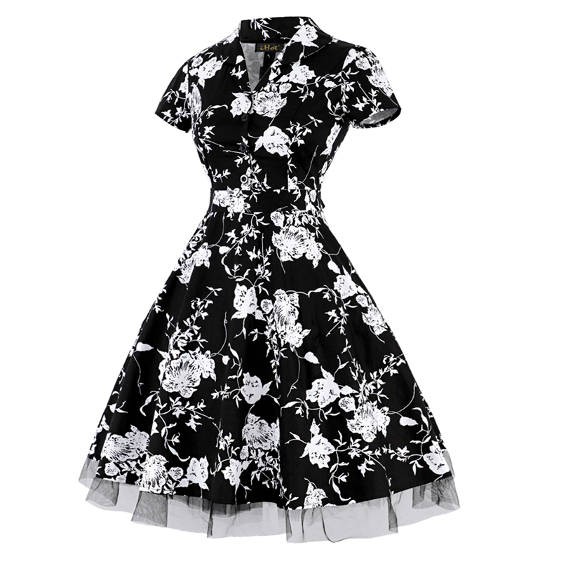 OTEN Summer Women Dress Elegant Vintage Short Sleeve V Neck Black White  Flower floral print lace Patchwork Bow party midi dress-in Dresses from  Women s ... 99aaf42e1
