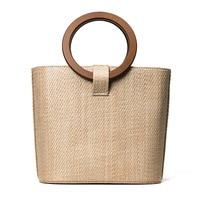 26x22CM 2017 New Trend Straw Bag Package Women Beach Vacation Handbag Bag Round Wood handle A2974