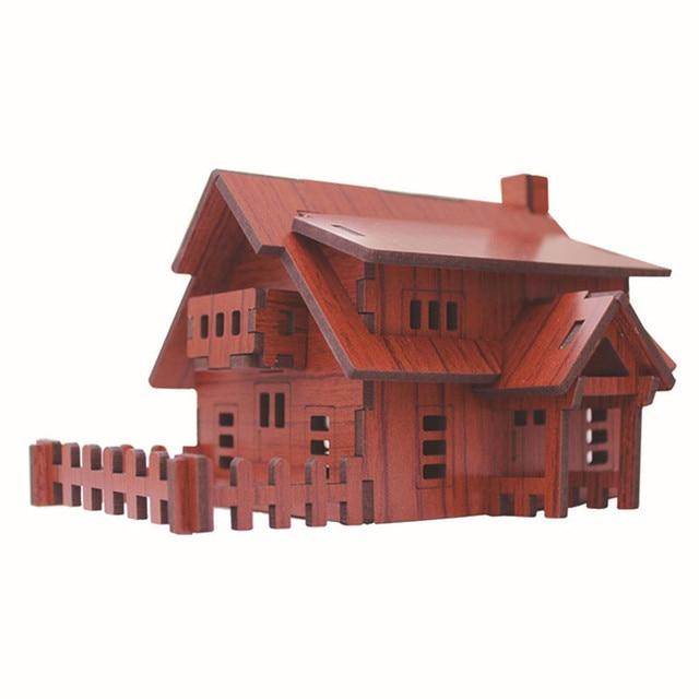 Abbyfrank 3D Wooden House Puzzle DIY Toys Puzzles Adults Construction Model  Juguetes 3d Building Toys Wooden
