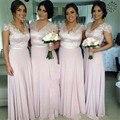 Rosa V Neck Chiffon da Luva do Tampão Até O Chão Vestido Com Corpete de Renda Da Dama de honra 2016 Casamento Vestido de Festa robe demoiselle d'honneur