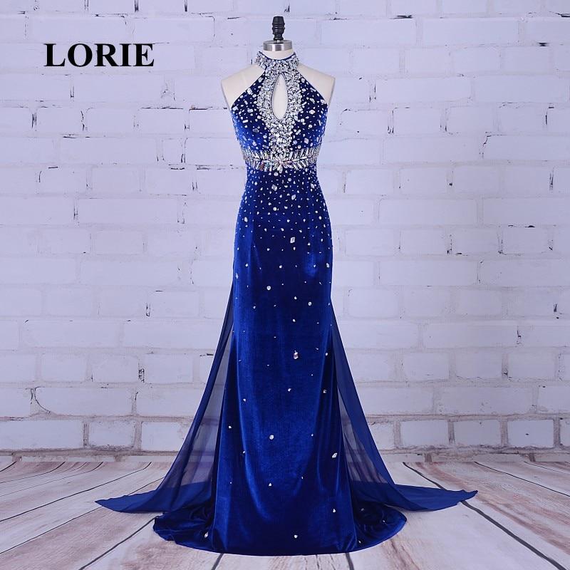 LORIE Luxury Evening Gowns High Neck Beaded Velvet Crystals Mermaid Royal Blue Prom Dress Robe De Soiree 2019 Abendkleider Kurz