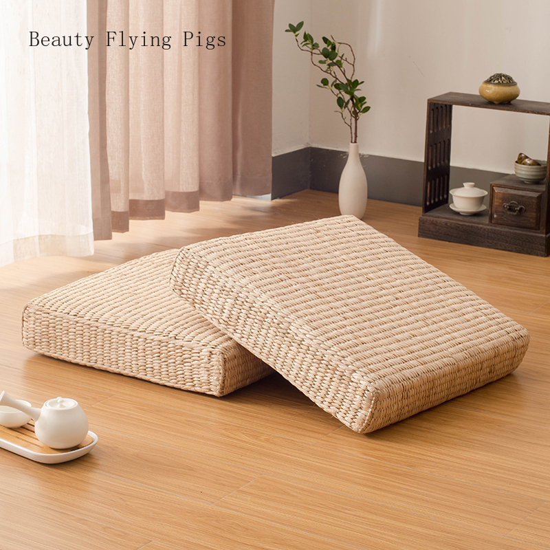Pastoral Wind Straw Japanese Meditation Cushion Tatami Mat Rattan Futon Sofa Cushion Home Decoration Cushion Meditation Yoga Mat