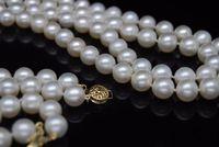 Благородный Женщины подарок золота застежка Природный AAAA белый двойной Strand 2 ряда 7 8 мм ожерелье с браслет жемчуг комплект