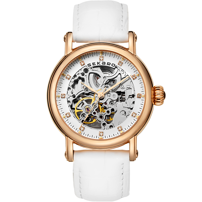 SEKARO 8016 Switzerland watch women luxury brand skeleton automatic mechanical Baroque art carvings fashion waterproof CalfskinSEKARO 8016 Switzerland watch women luxury brand skeleton automatic mechanical Baroque art carvings fashion waterproof Calfskin