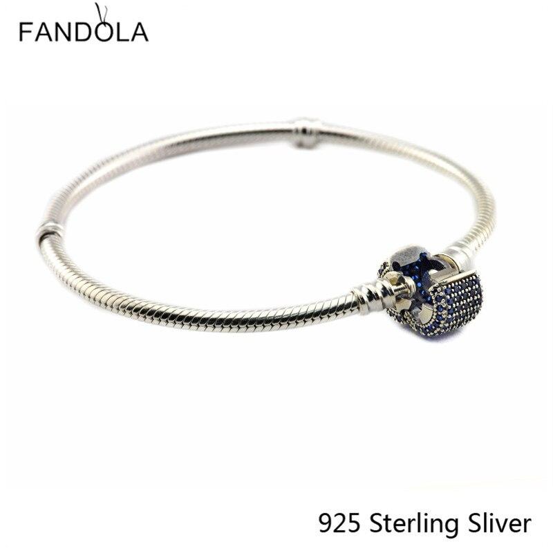 100% 925 Bracelet en argent Sterling avec fermoir Signature, Bracelet en argent cristal bleu Royal pour bricolage bijoux pour femmes