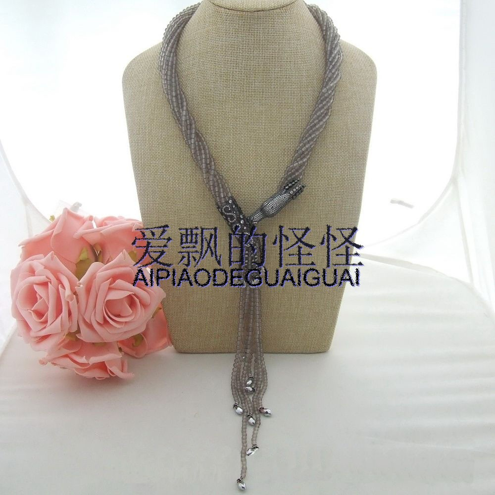 22 8  Round Grey Onyx Crystal Necklace CZ Connector22 8  Round Grey Onyx Crystal Necklace CZ Connector