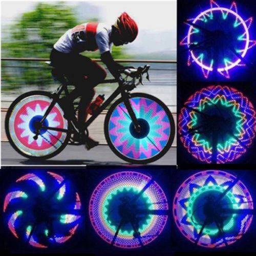 2pcs 32 Led Patterns Cycling Bikes Bicycle Rainbow Wheel Signal Tire Spoke Light-music Bicycle Light