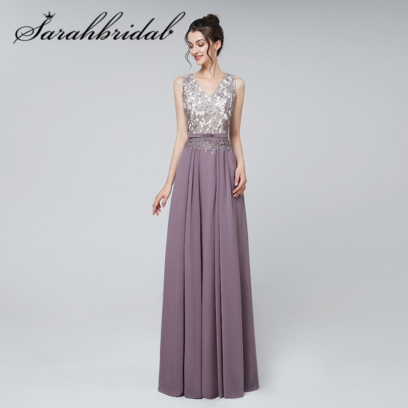 Simple Spring New Arrivals Prom Dresses Lace Applique V-neck Elegant Lilac Beading Sashes Beaded Party Evening Gown CC3123