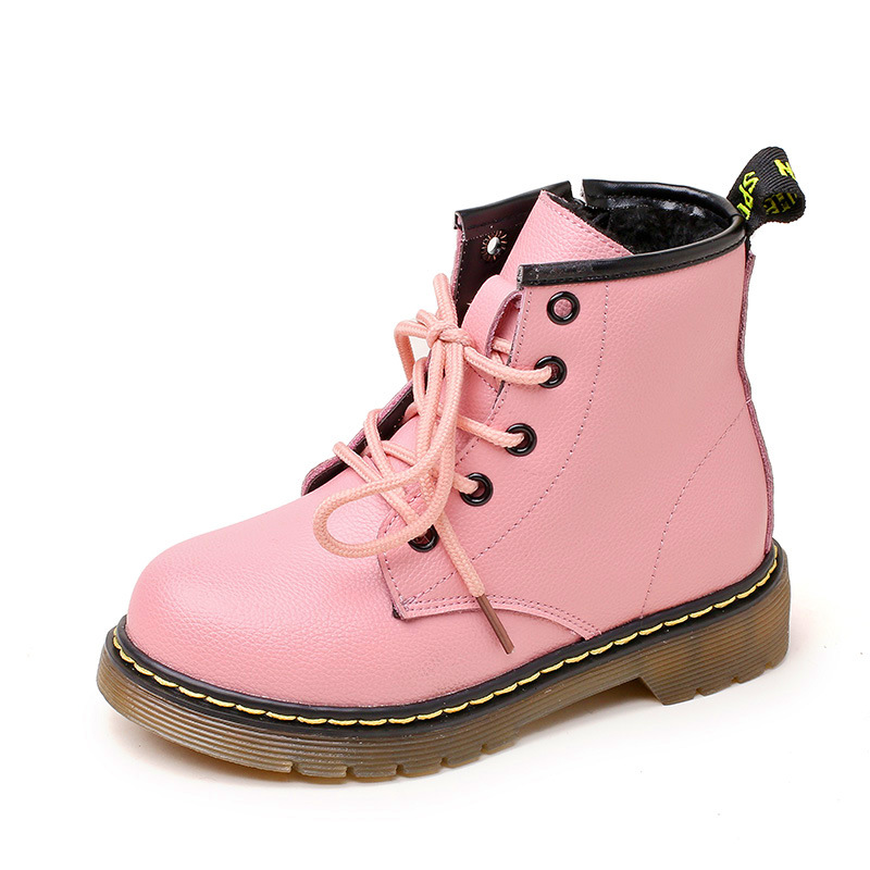 2018 New Arrive Children's Shoes Autumn Winter Genuine Leather Cotton Martin Boots Solid Ankle Anti-slippery Girls Winter Boots mulinsen new arrive 2017 autumn winter men