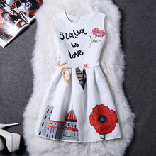 2017 Women's Spring Summer Vintage Print Vest Slim Dress Sexy Party Cute Women Princess Office Dresses Vestidos Clothing Clothes