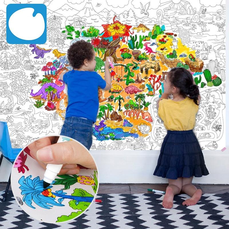 115 * 80cm beste cadeau kinderen super schilder enorme tekening papier kleuren poster speelgoed jongens meisjes verjaardagscadeau gratis verzending