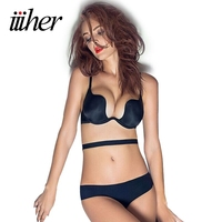 Halter Wedding Dress Invisible Lingerie Sexy Seamless Ultra Thin Push Up Bra Set Bandage Underwire 1