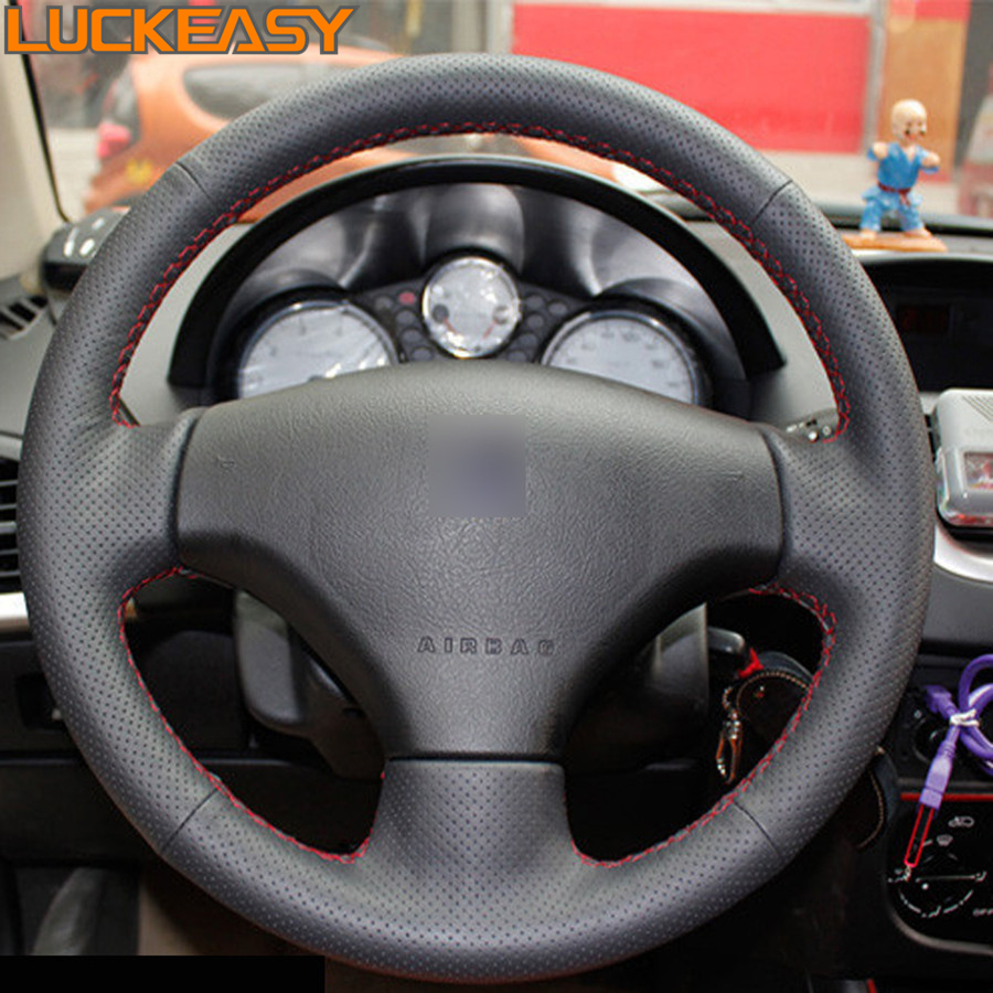 Black Leather Hand-stitched Car Steering Wheel Cover for Peugeot 206 207 Citroen C2