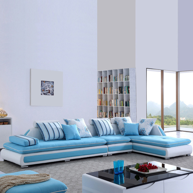 Colorful Living Room Furniture: L Shape Colorful Fabric Sofa Couch For Living Room
