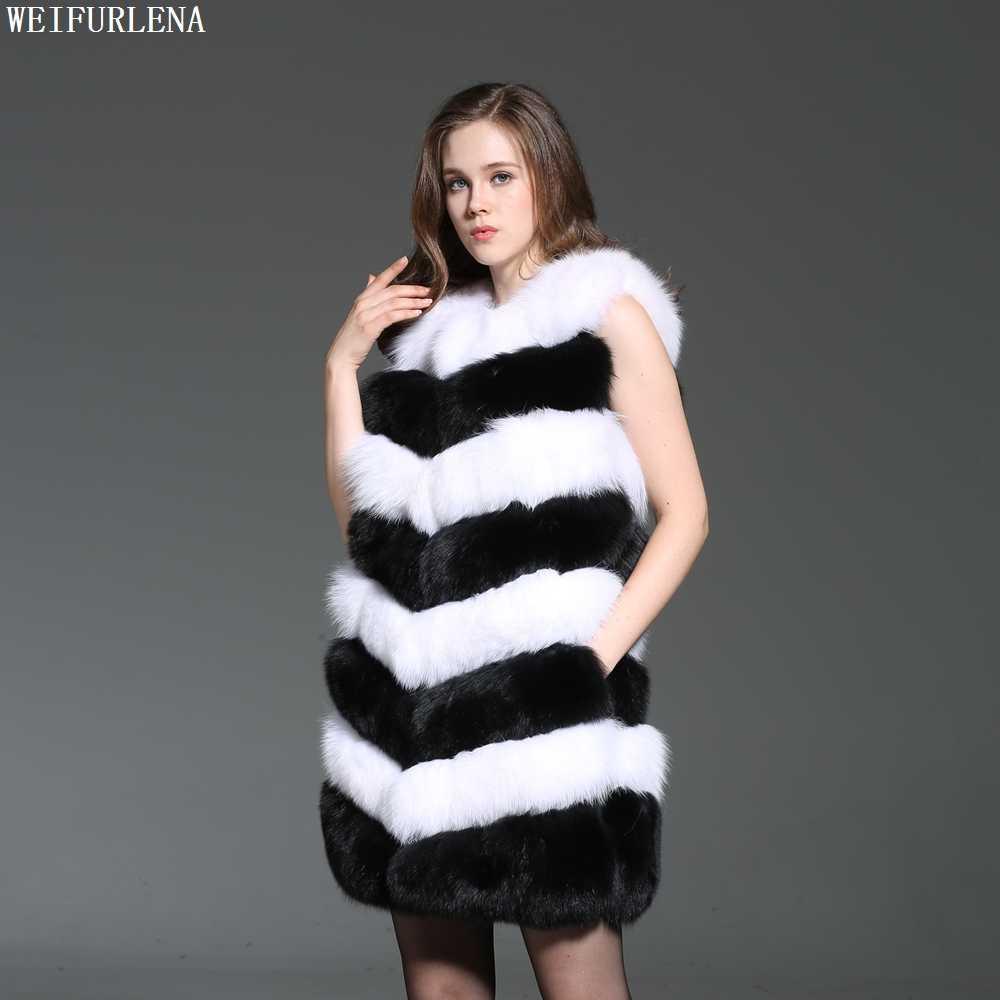 2018 Sleeveless Weste Frauen Hot Echt Fuchs Pelz Für Top Qualität Natürliche Pelze Weste Jacke Frau Luxus Gilets 90 cm länge