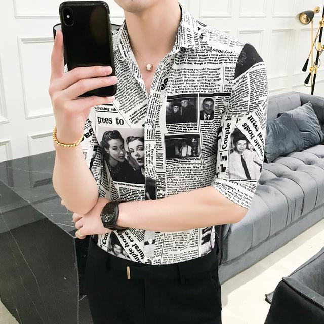 High Quality Summer Tuxedo Shirt Half Sleeve Slim Fit Newspaper Print Shirt Men Casual Night Club Party Dress Shirts Mens 3XL