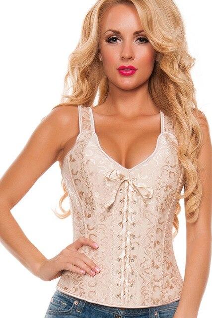 Элегантный Белый Brocade Люкс Корсет Sexy Women Summer Стиль Клубные 2017 Готический Стимпанк Корсетные Бюстье LC5377