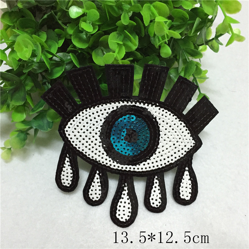 10Pcs/Lot Sequin Eyes Embroidered Patch Applique Need Iron On Stick Clothes Bag Decorate Accessories Handmade Diy 13.5*12.5CM