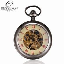 Fob Relojes de bolsillo Mecánicos Caso Abierto Romana Steampunk Esqueleto Reloj de Los Hombres Colgantes Amtique Cadena De Reloj de montre poche de Lujo
