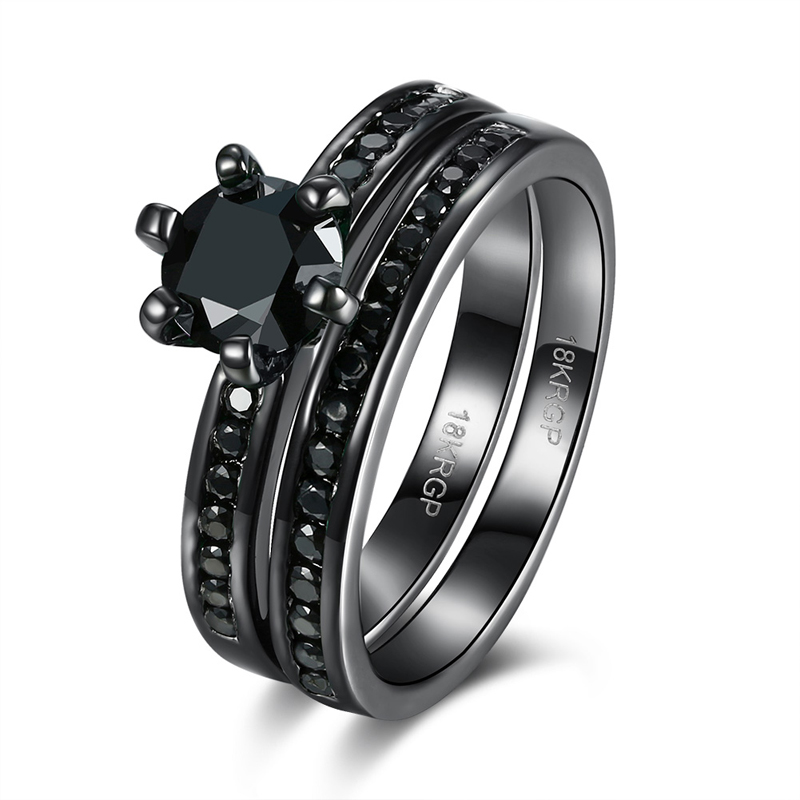 JEXXI Low Price Wholesale Female Jewelry 2Pcs Wedding Engagement Ring Set Fashion Plated Black Gold CZ Crystal Woman Ring