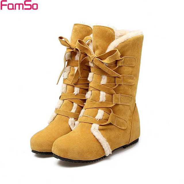 FAMSO  2017 Retro Style Black Boots yellow Russia Outdoor Martin Boots Winter Full Fur keep Warm Women Snow Boots SBT3869