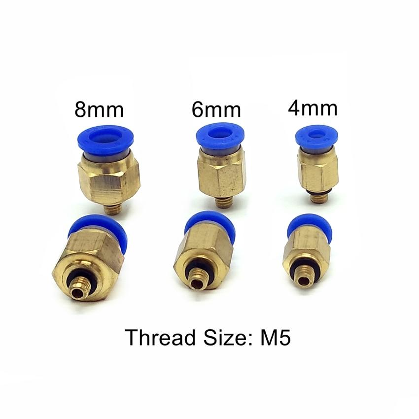 Tubo 3 mm 4 mm 6 mm Tuber/ía neum/ática recta Manguera de aire Conector r/ápido Conector mini Lat/ón,PC3-m3 PC4-m3 PC6-M5 Rosca macho M3 M4 M5 M6