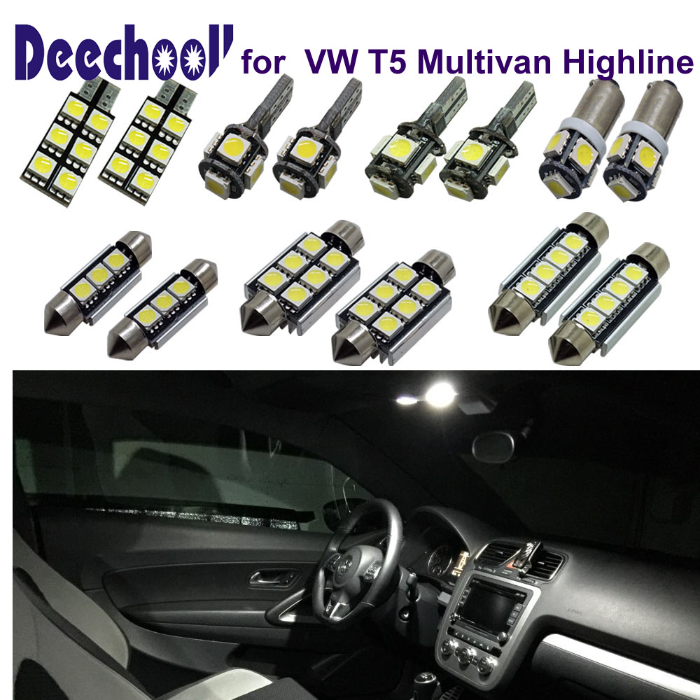 deechooll 18pcsx Car LED Bulbs for VW T5 Multivan,Canbus Auto Accessories Interior Light for Transporter T5 Reading Lights Lamp