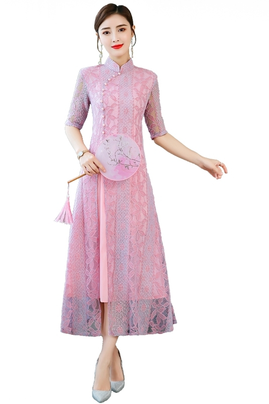 Autumn Vintage Lace Women Dress Elegant Ladies Stand Collar Dress Half Sleeve Party Dresses Vestidos Clothing Plus Size 4XL in Dresses from Women 39 s Clothing