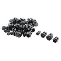 40Pcs M12 M18 M20 M22 Black Cable Gland