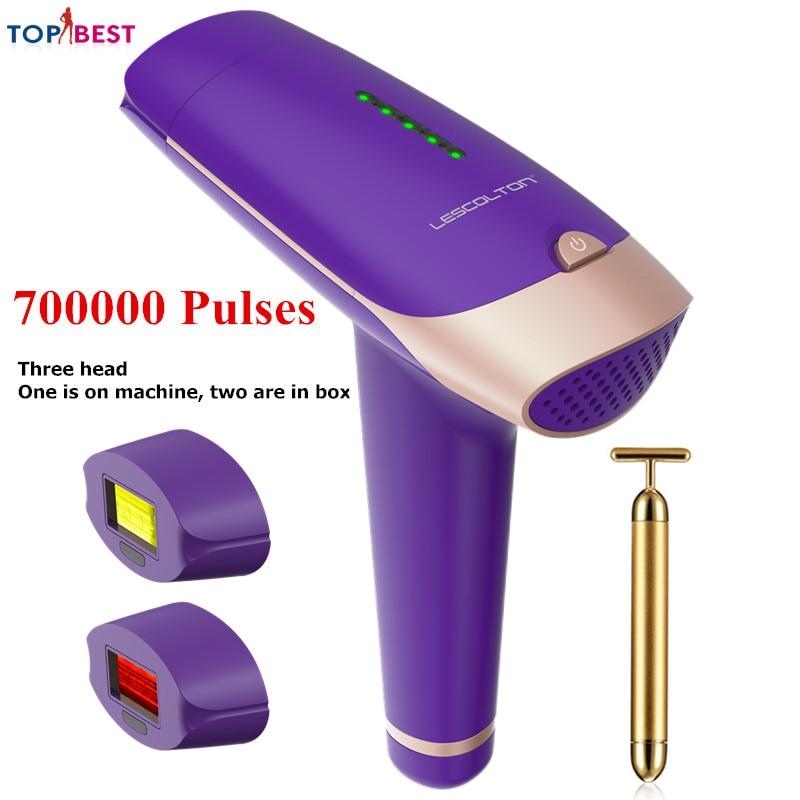 Lescolton Depilador A Laser Permanente Biquíni 5 Níveis Dispositivo Depilador Facial Removedor de Pêlos Indolor Para As Mulheres Homem Biquíni com 3 Lâmpada