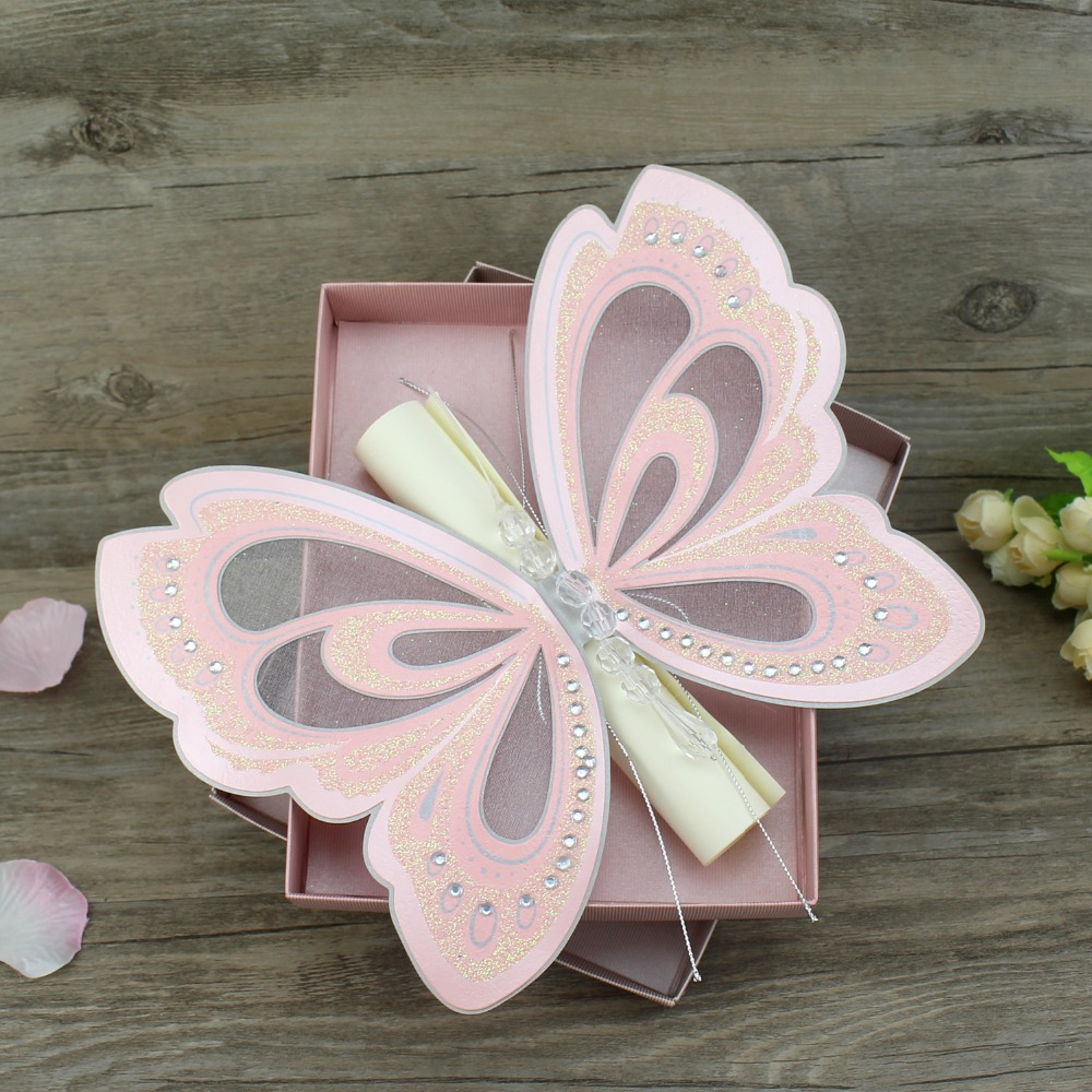 50 Piece Scroll Wedding Invitation Card Elegant White Pink Butterfly Kids Birthday Party Invitations 3D Pop Up Cards With Box