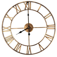 Big Iron Retro Wall Clock Art Gear Roman Numerals Vintage 3D Clock Low Noise Large Decorative Wall Clocks Home Decoration Z30