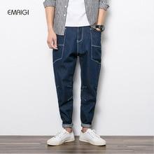 Мужчины hip hop случайный гарем брюки джинсы мужские свободные джинсовые брюки япония стиль большой карман карандаш джинсы 3219
