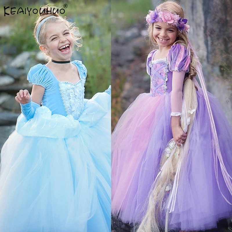 Cinderella Dress Summer Kids Dresses For Girls Elsa Dresses Vestidos Snow White Princess Dress Rapunzel Aurora Children Costume