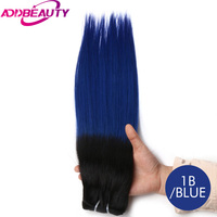 Addbeauty Straight Brazilian Virgin Hair Products Selected Raw Materials Human Hair Weave Bundles T1 Blue Color