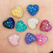 80pcs AB Resin 12mm Bling Sweet heart flatback rhinestone Ornaments DIY Wedding appliques craft D50*2(China)