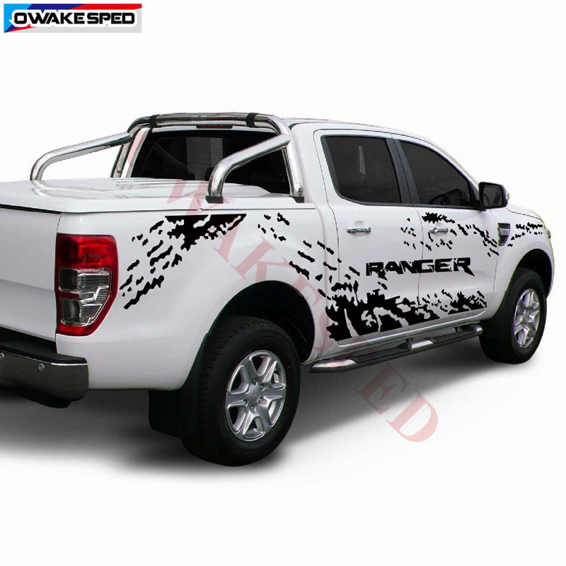 Repéré Graphique Vinyle Autocollant Porte Latérale Rayures Autocollants De Carrosserie Pour Ford Ranger Raptor 2012-18 Ramassage Automatique Autocollant Personnalisé