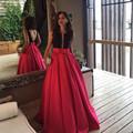 Pakistán Robe de soirée Sexy Rojo Negro Árabe Vestido de Noche Largo 2017 Bolsillos Mujeres Del Partido Sequined Backless Eventos Vestido