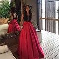 Paquistão Robe de soiree Sexy Red Black Árabe Vestido de Noite Longo 2017 Bolsos Mulheres Eventos Do Partido Sem Encosto de Lantejoulas Vestido